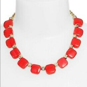 Kate Spade Red Pink Resin Color Block Necklace